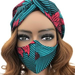 Cute Teal/Blue and Pink Face Mask Set!